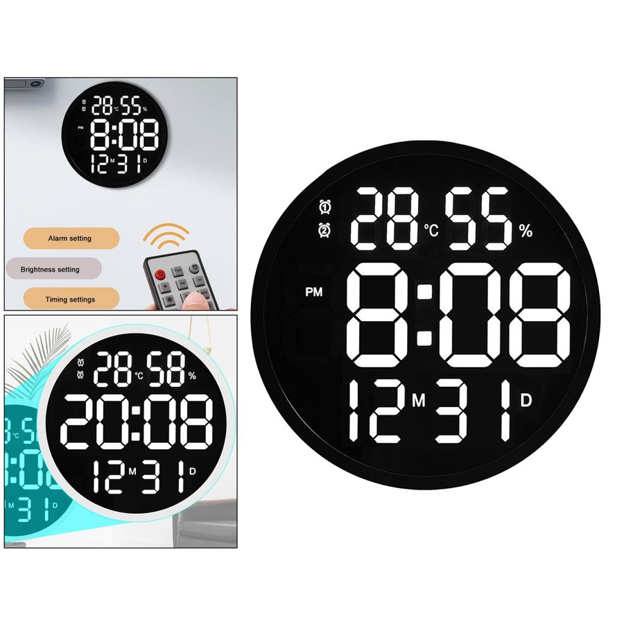 ルミナスデジタル壁掛け時計温度湿度表示時計黒|stk-shop|06