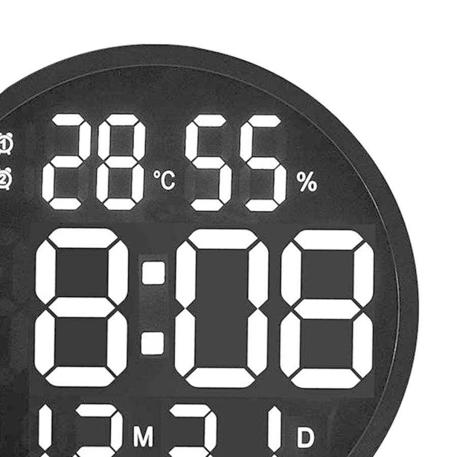 ルミナスデジタル壁掛け時計温度湿度表示時計黒|stk-shop|08