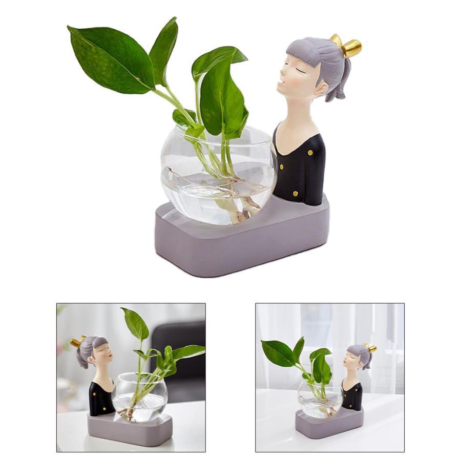 植物テラリウムLED置物ガラスプランター植物テラリウムブラック|stk-shop