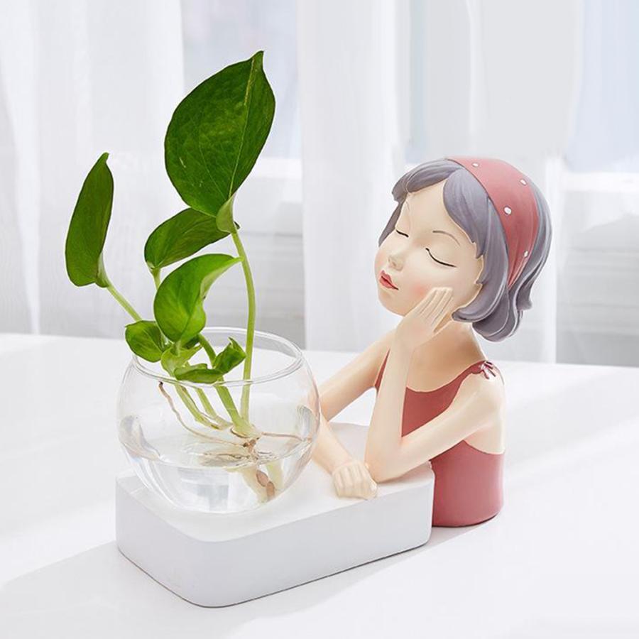 植物テラリウムLED置物ガラスプランター植物テラリウムピンク|stk-shop