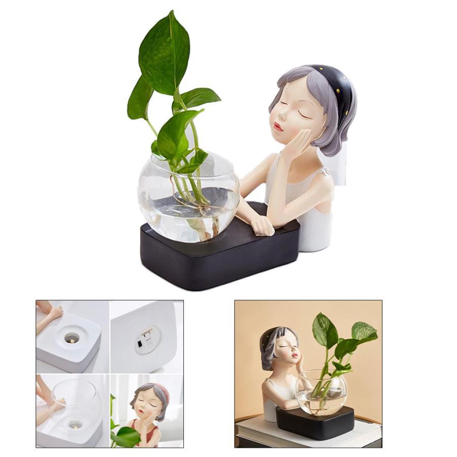植物テラリウムLED置物ガラスプランター植物テラリウムチンレストブラック|stk-shop