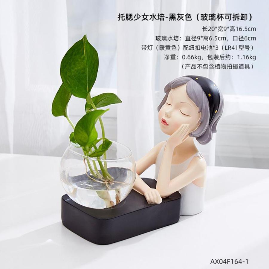 植物テラリウムLED置物ガラスプランター植物テラリウムチンレストブラック|stk-shop|04