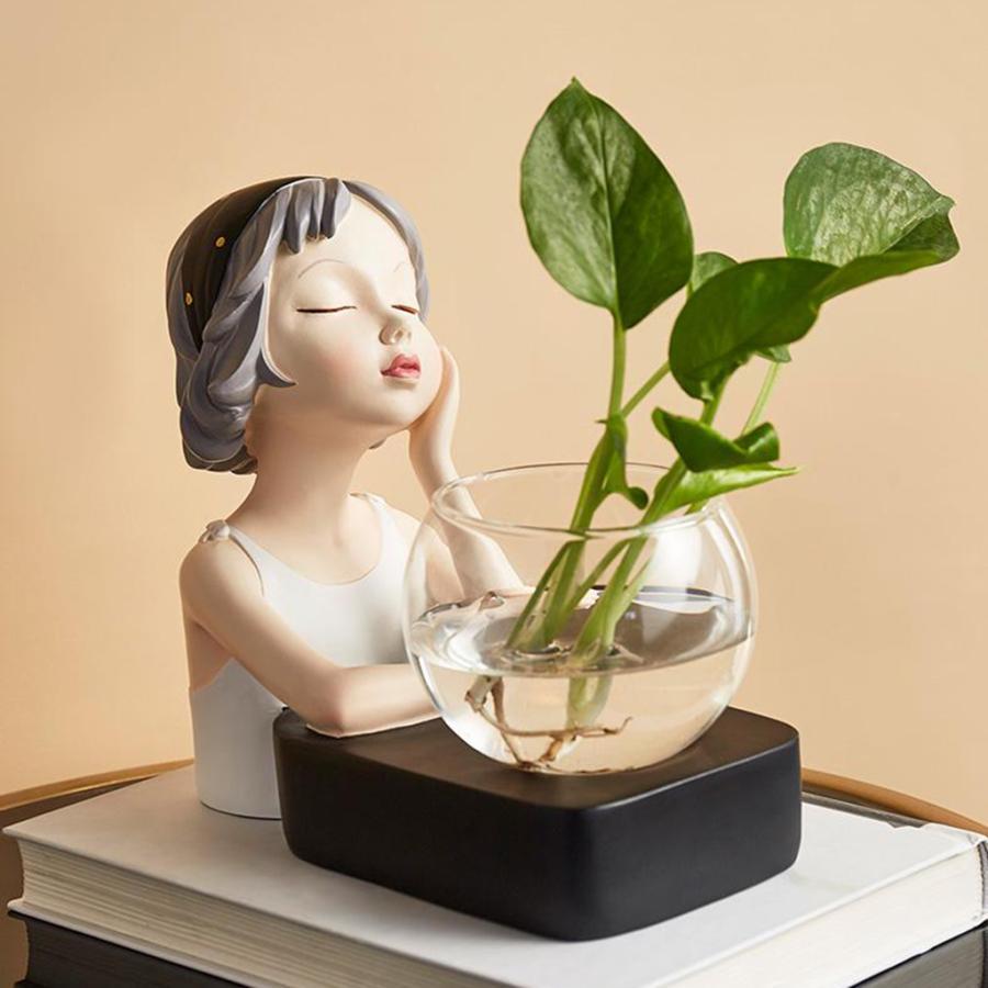 植物テラリウムLED置物ガラスプランター植物テラリウムチンレストブラック|stk-shop|05