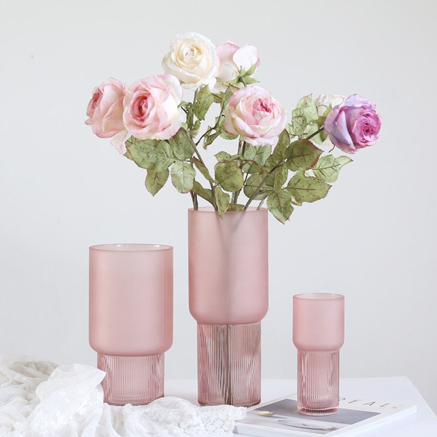 アートガラス花瓶テーブル植物コンテナホルダー結婚式の家の装飾ピンクスモールA|stk-shop|03