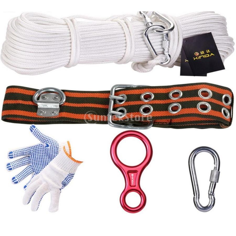 ノーブランド品 登山キット 安全ロープ ビレイデバイス ベルト ハーネス カラビナ 手袋 セット 10サイズ選べる - 100メートル