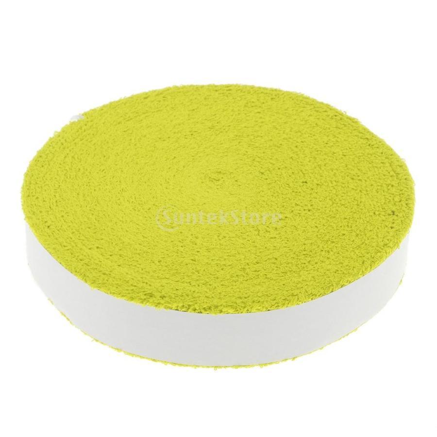 テニス 上質 バドミントン ラケット用 オーバーグリップ ※アウトレット品 イエロー タオルグリップテープ - 5色選べる