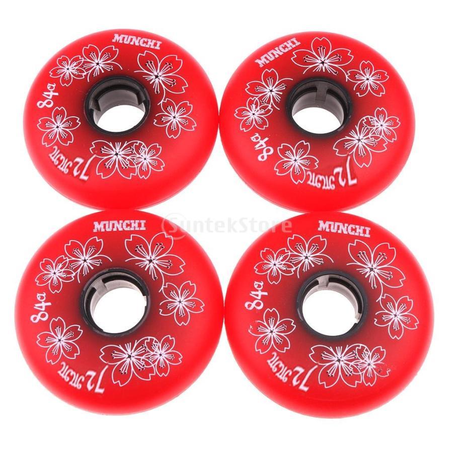 スケート ホイール 4個 無料サンプルOK 桜柄 インライン ローラー ホッケー 全3色3サイズ 72mm ウィール 赤 高弾性 18%OFF 耐摩耗性 -