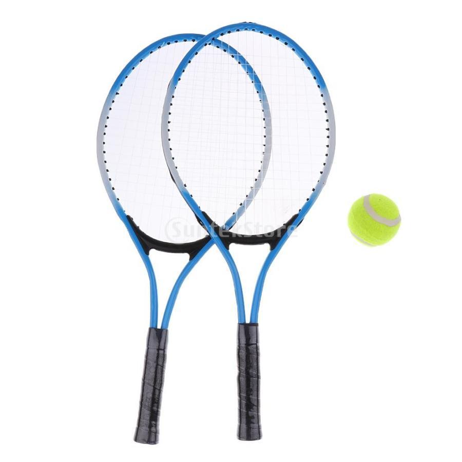 3色選べ 高強度鋼管 テニスラケット ステニスボール 練習ラケット 待望 待望 訓練セット - カバー付き 初心者適応 青