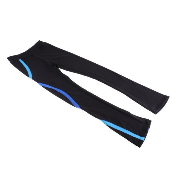 プレミアムアイススケートパンツレギンスガールズタイツパンツベースレイヤー衣装 店舗 - ブラック 未使用 ブルー160