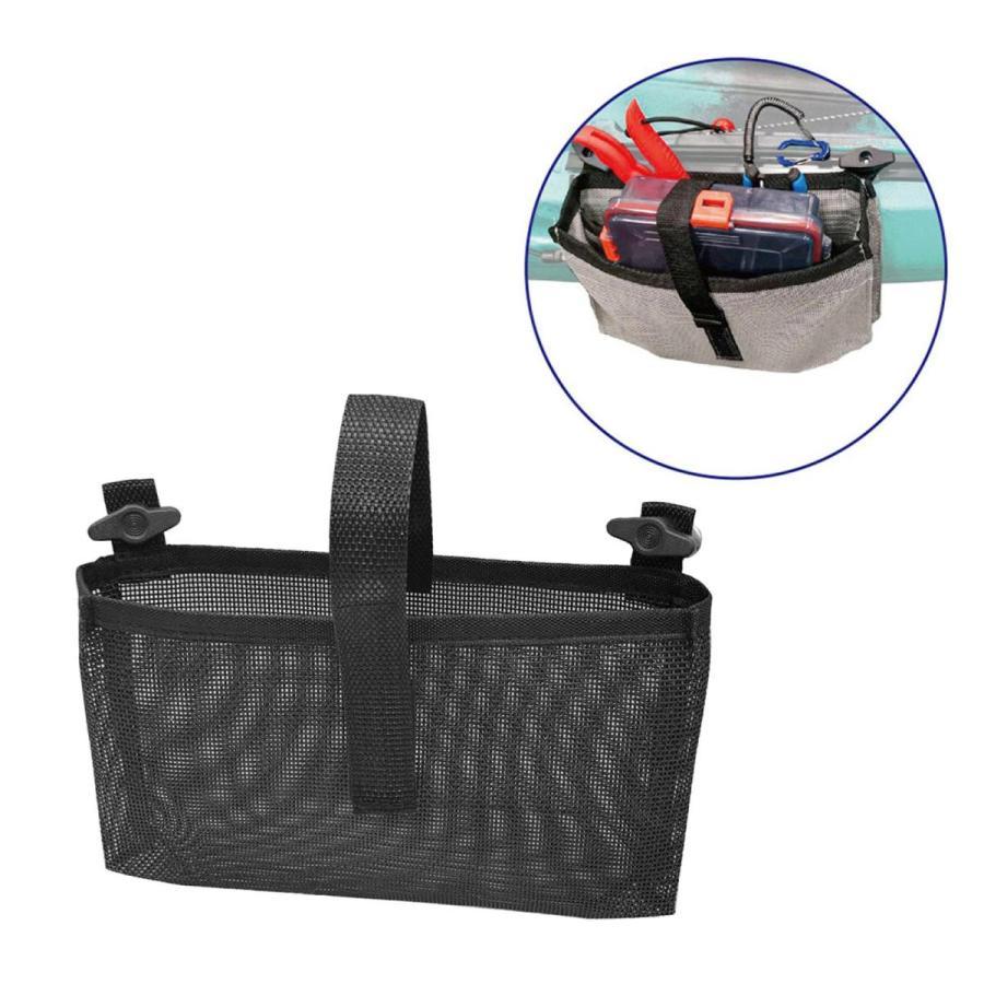 耐久性のあるカヤックメッシュバッグマリンカヌー収納ポーチビールタックルホルダーブラック|stk-shop