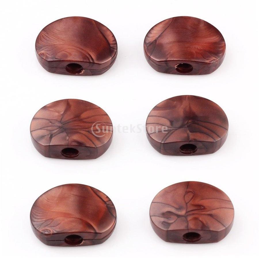 ノーブランド品 6本 楕円形 アクリル ボタン ギター マシンチューナー ペグつまみ コーヒー|stk-shop|02