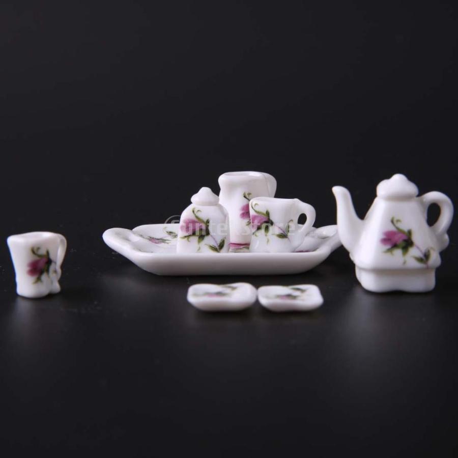 8個セット 1/12  ドールハウス 装飾 ミニチュア 磁器 ダイニング ウェア 茶器 コーヒー ティー セット 花柄 2種類選べる - 02|stk-shop