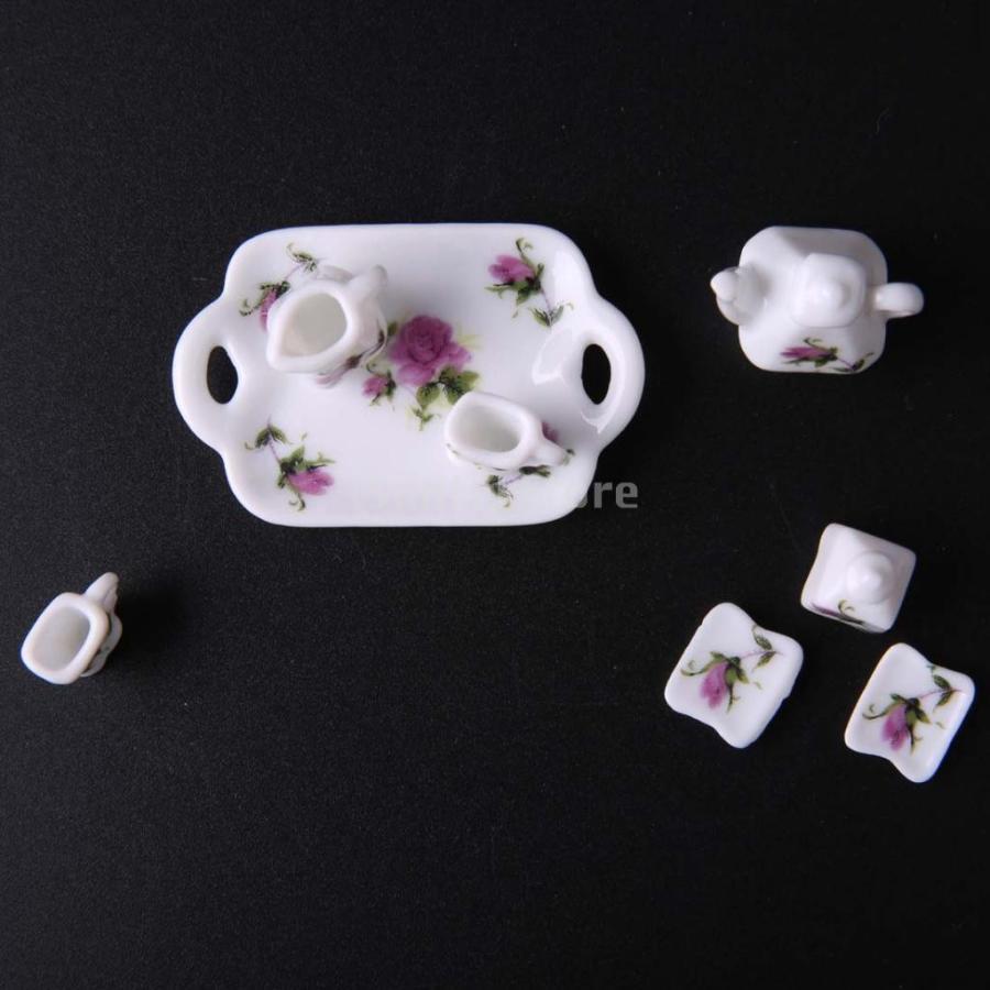 8個セット 1/12  ドールハウス 装飾 ミニチュア 磁器 ダイニング ウェア 茶器 コーヒー ティー セット 花柄 2種類選べる - 02|stk-shop|02