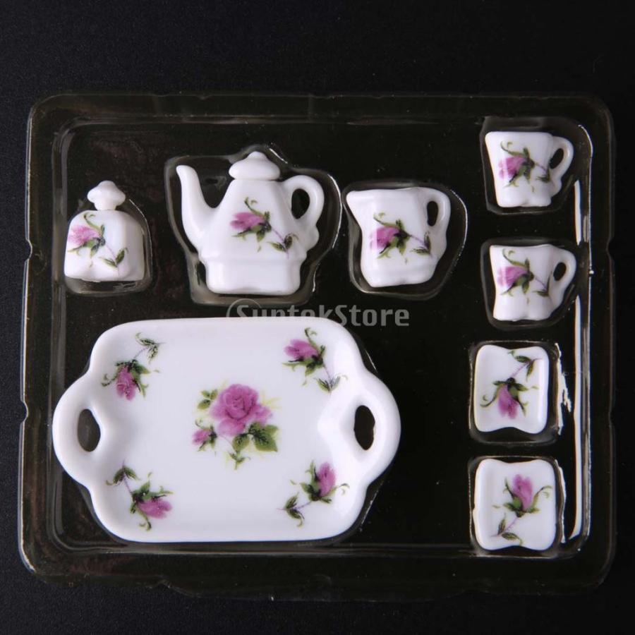 8個セット 1/12  ドールハウス 装飾 ミニチュア 磁器 ダイニング ウェア 茶器 コーヒー ティー セット 花柄 2種類選べる - 02|stk-shop|03