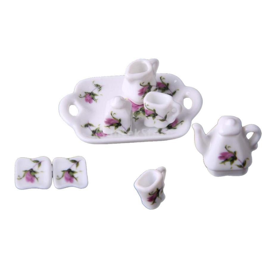 8個セット 1/12  ドールハウス 装飾 ミニチュア 磁器 ダイニング ウェア 茶器 コーヒー ティー セット 花柄 2種類選べる - 02|stk-shop|04