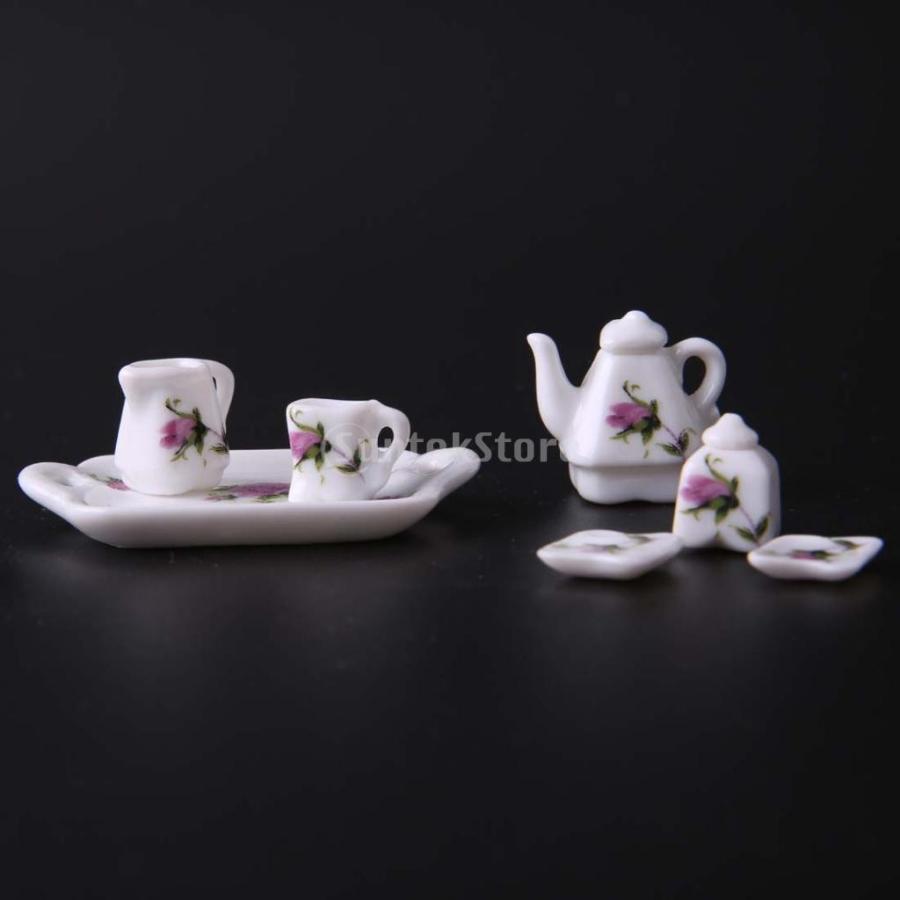 8個セット 1/12  ドールハウス 装飾 ミニチュア 磁器 ダイニング ウェア 茶器 コーヒー ティー セット 花柄 2種類選べる - 02|stk-shop|05