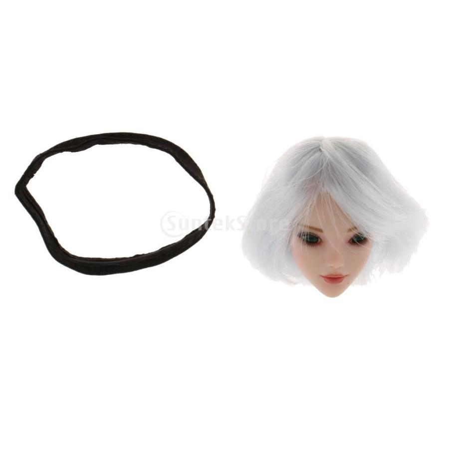 ホワイトショートヘア 期間限定で特別価格 きれい 1 12インチアクションフィギュアボディ用 6スケール女性ヘッドスカルプト 送料無料お手入れ要らず