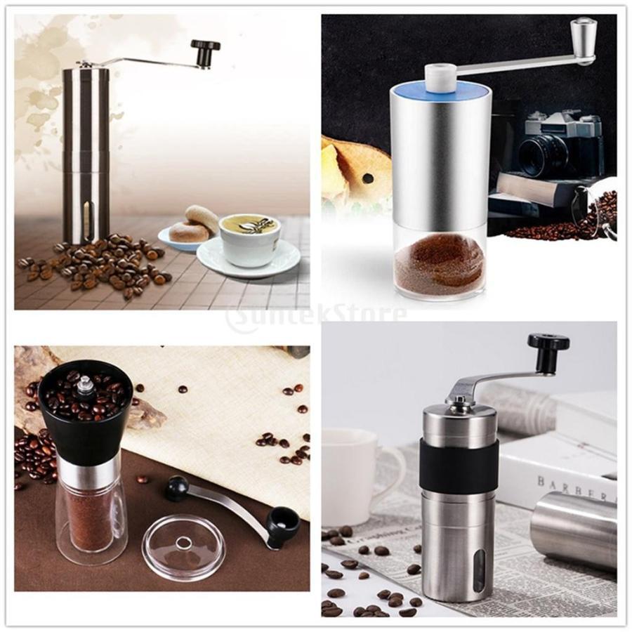 手挽きコーヒーミル 手動 ステンレス製 セラミック刃 ハンディータイプ 小型 携帯便利 アウトドア 旅行 コーヒー用品 粗細調整可能 雰囲気作り|stk-shop|08