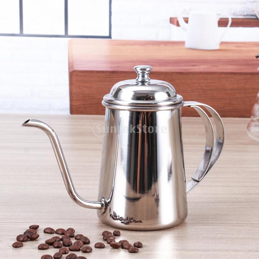 650ml ステンレス製 コーヒーポット ティーケトル グースネック 紅茶.モカに適用 5色選べ - 銀, 16.5×9.5cm|stk-shop