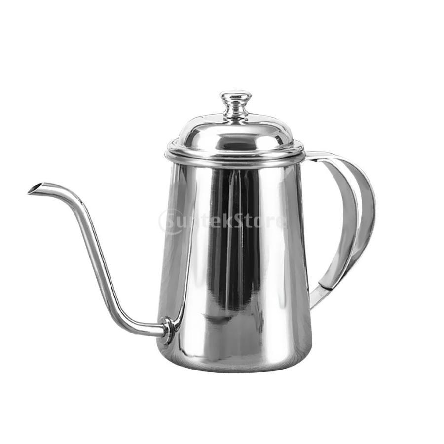 650ml ステンレス製 コーヒーポット ティーケトル グースネック 紅茶.モカに適用 5色選べ - 銀, 16.5×9.5cm|stk-shop|02