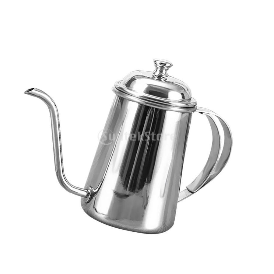 650ml ステンレス製 コーヒーポット ティーケトル グースネック 紅茶.モカに適用 5色選べ - 銀, 16.5×9.5cm|stk-shop|04