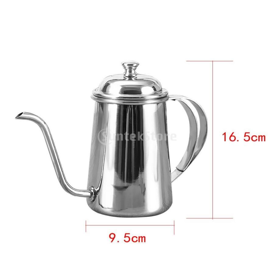 650ml ステンレス製 コーヒーポット ティーケトル グースネック 紅茶.モカに適用 5色選べ - 銀, 16.5×9.5cm|stk-shop|05