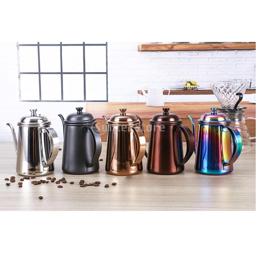 650ml ステンレス製 コーヒーポット ティーケトル グースネック 紅茶.モカに適用 5色選べ - 銀, 16.5×9.5cm|stk-shop|06