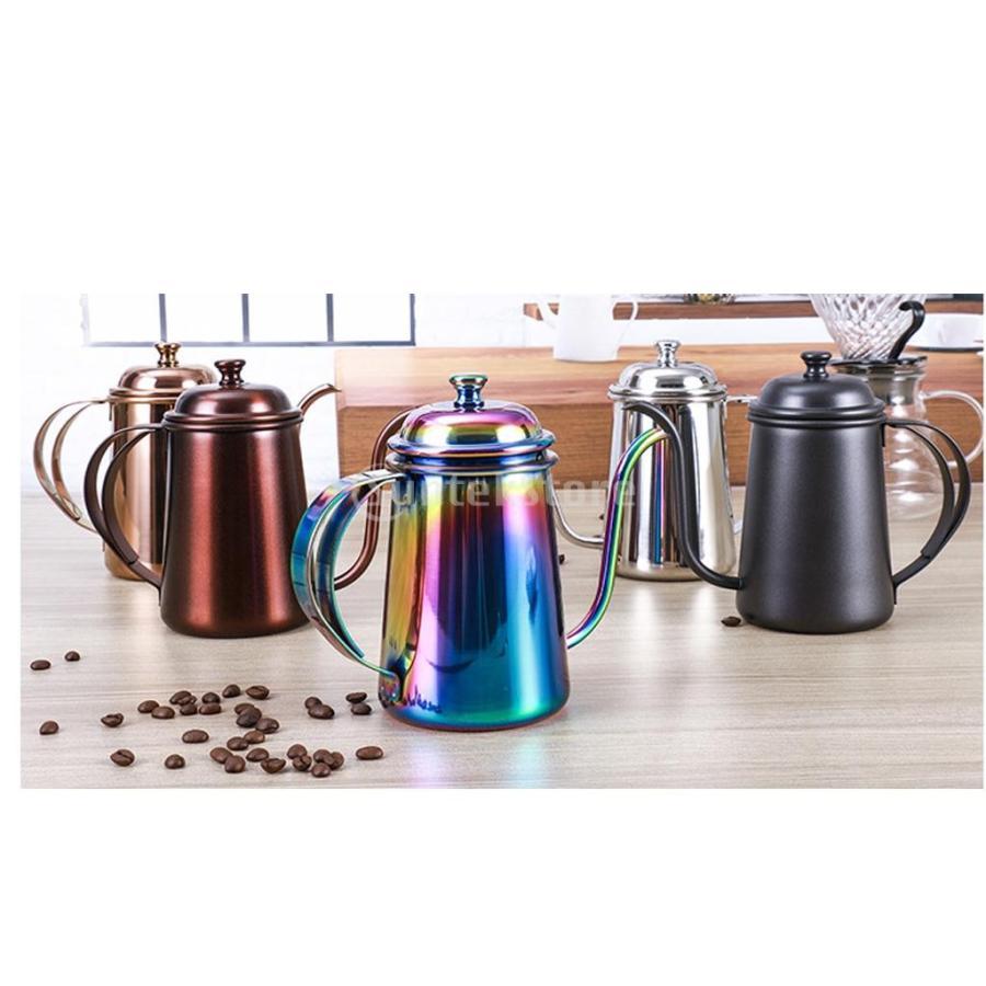 650ml ステンレス製 コーヒーポット ティーケトル グースネック 紅茶.モカに適用 5色選べ - 銀, 16.5×9.5cm|stk-shop|07