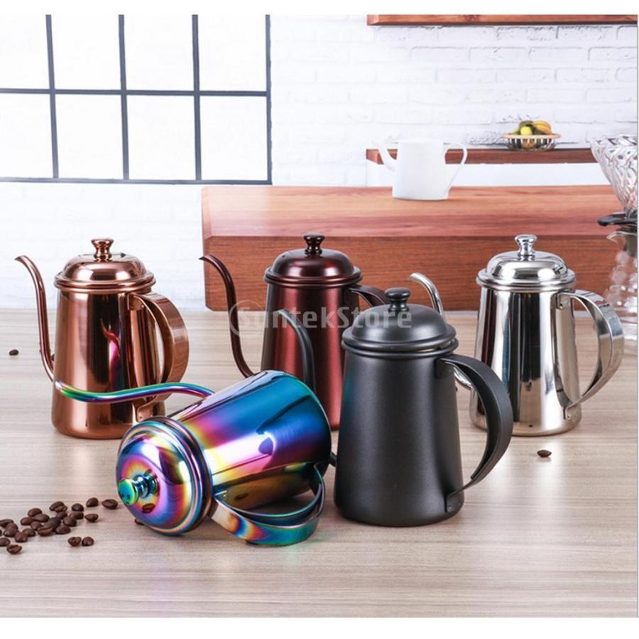 650ml ステンレス製 コーヒーポット ティーケトル グースネック 紅茶.モカに適用 5色選べ - 銀, 16.5×9.5cm|stk-shop|08