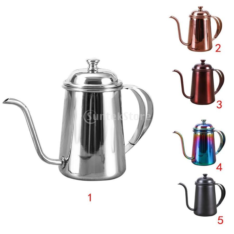 650ml ステンレス製 コーヒーポット ティーケトル グースネック 紅茶.モカに適用 5色選べ - 銀, 16.5×9.5cm|stk-shop|09