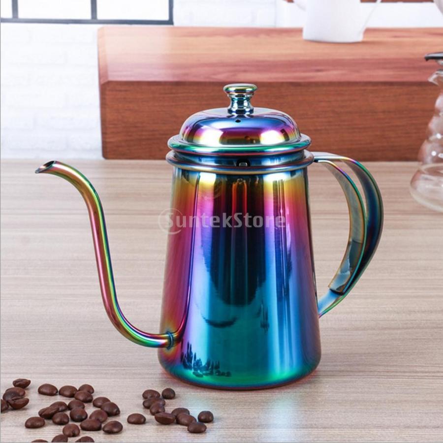 多用途 650ml コーヒーポット ティーポット ティーケトル グースネック 2020 頑丈5色選べ 通信販売 便利 カラフル エスプレッソ.ミルクに - ステンレス製