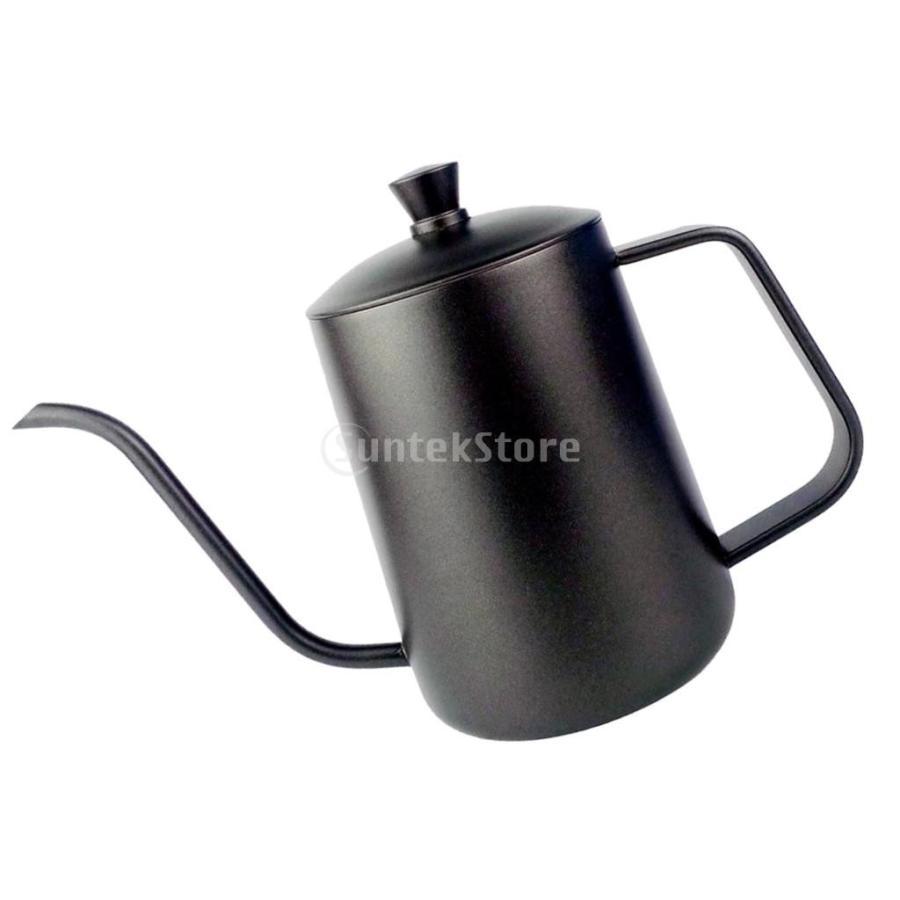 ステンレス スチール ハンド ドリップ コーヒーポット グースネック ケトル 600ml 黒 コーヒーケトル stk-shop 02