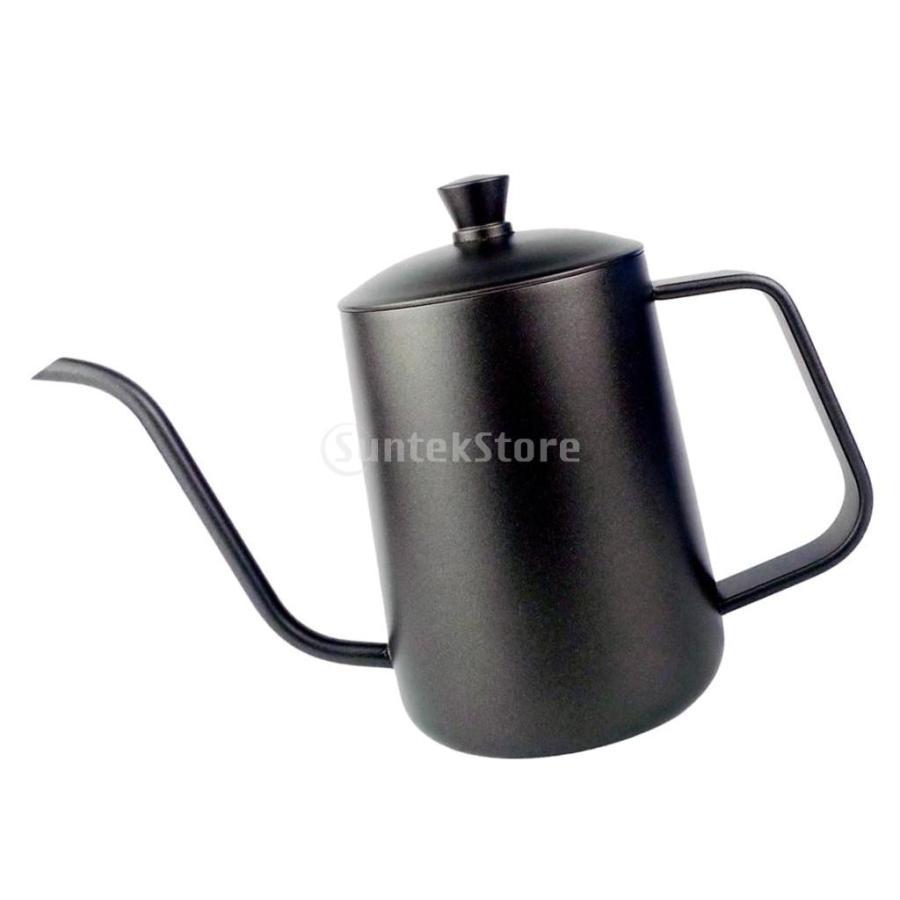 ステンレス スチール ハンド ドリップ コーヒーポット グースネック ケトル 600ml 黒 コーヒーケトル stk-shop 05
