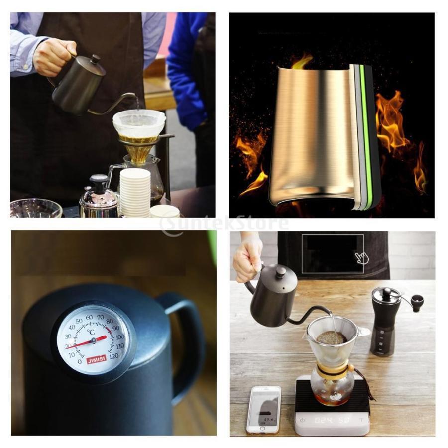 ステンレス スチール ハンド ドリップ コーヒーポット グースネック ケトル 600ml 黒 コーヒーケトル stk-shop 06