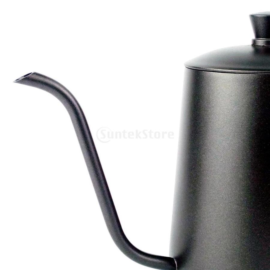 ステンレス スチール ハンド ドリップ コーヒーポット グースネック ケトル 600ml 黒 コーヒーケトル stk-shop 07
