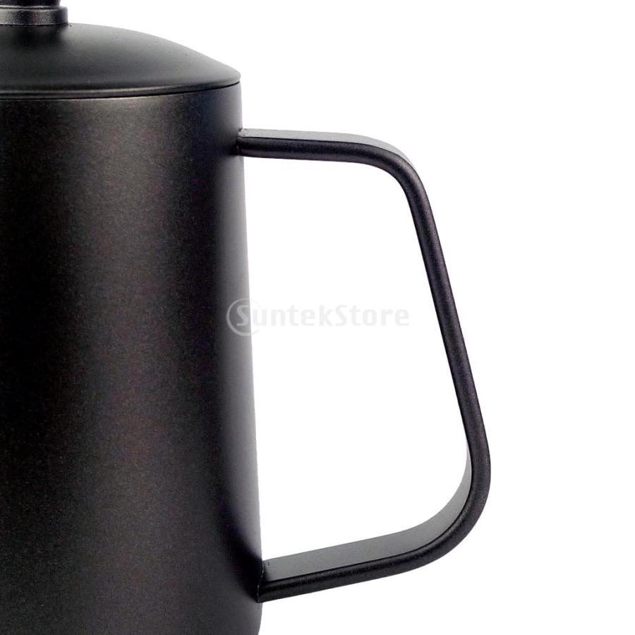 ステンレス スチール ハンド ドリップ コーヒーポット グースネック ケトル 600ml 黒 コーヒーケトル stk-shop 08