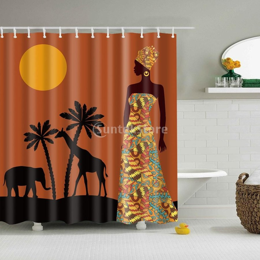フォークスタイル 人気激安 シャワーカーテン バスルーム 12フック セット ポリエステル 女性 セール商品 - 全13タイプ 防水機能