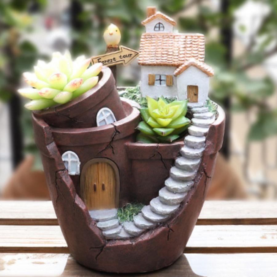 売れ筋ランキング 日本産 庭のレトロな農家スタイル2のための樹脂植木鉢多肉植物プランターポット