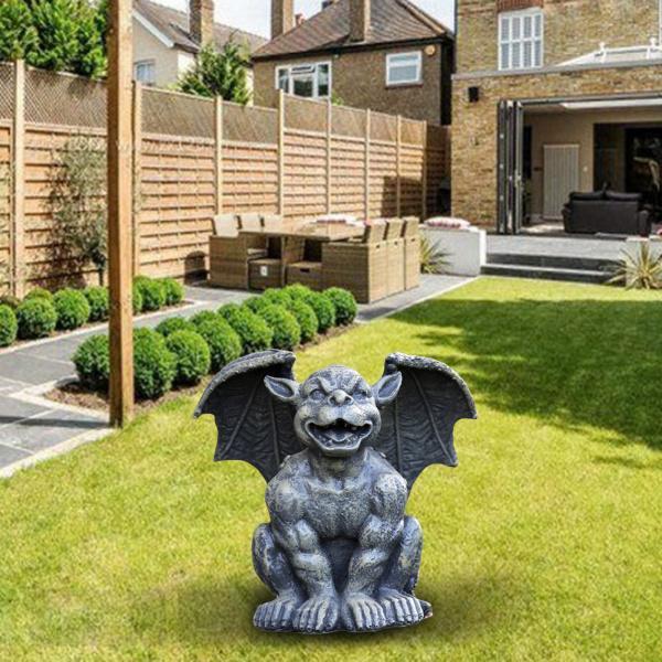 ◆高品質 現金特価 ガーデンガーゴイル像庭の装飾彫刻の置物12x12x17cm笑う