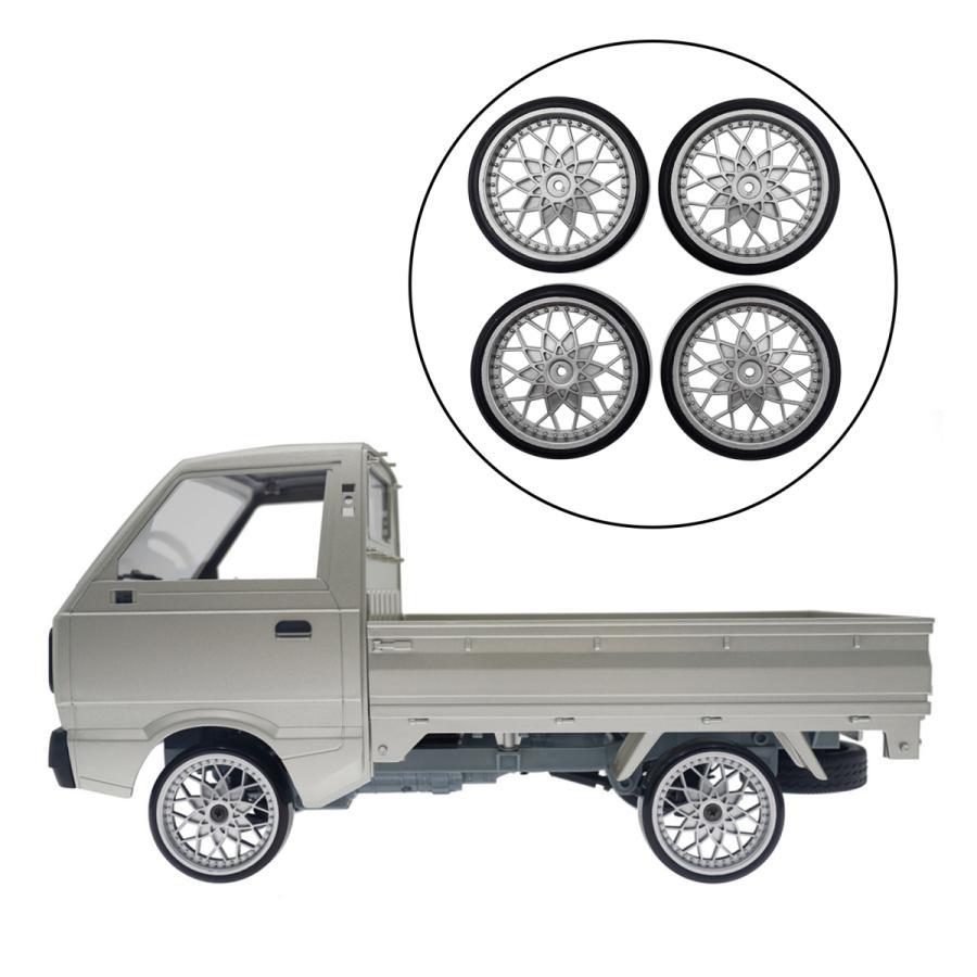 《週末限定タイムセール》 WPL D12RCトラックカー用リム付きプラスチックタイヤアップグレードパーツシルバー 本店