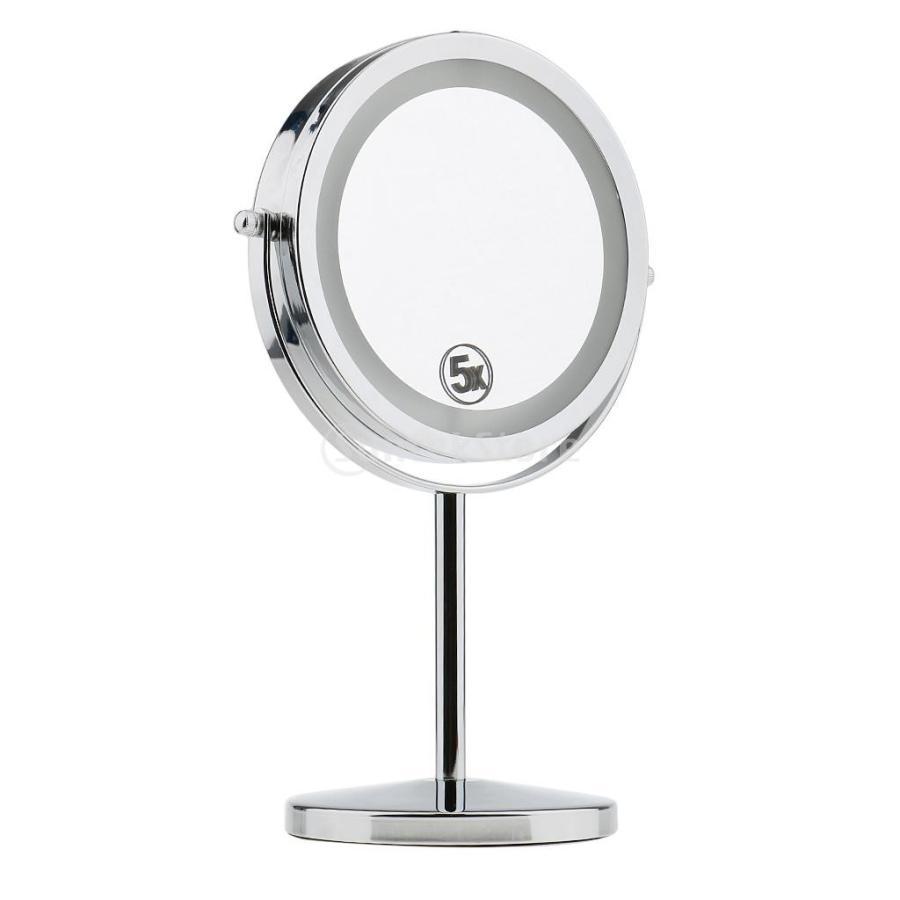 商店 両面 ミラー 卓上 化粧鏡 ブランド買うならブランドオフ LEDライト付き 高級感 360度回転 5倍拡大鏡