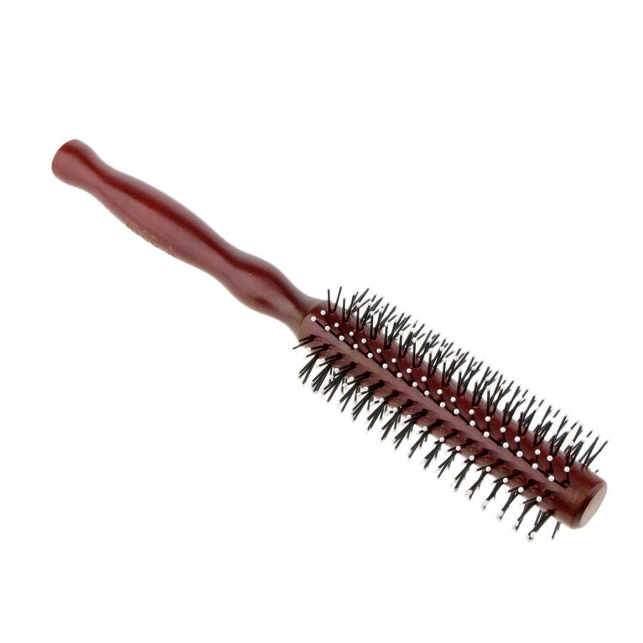ヘアブラシ ロールブラシ ヘアコーム 櫛 春の新作 木製ハンドル 頭皮マッサージ 2サイズ選べる ヘアケア セットアップ - M 巻き髪