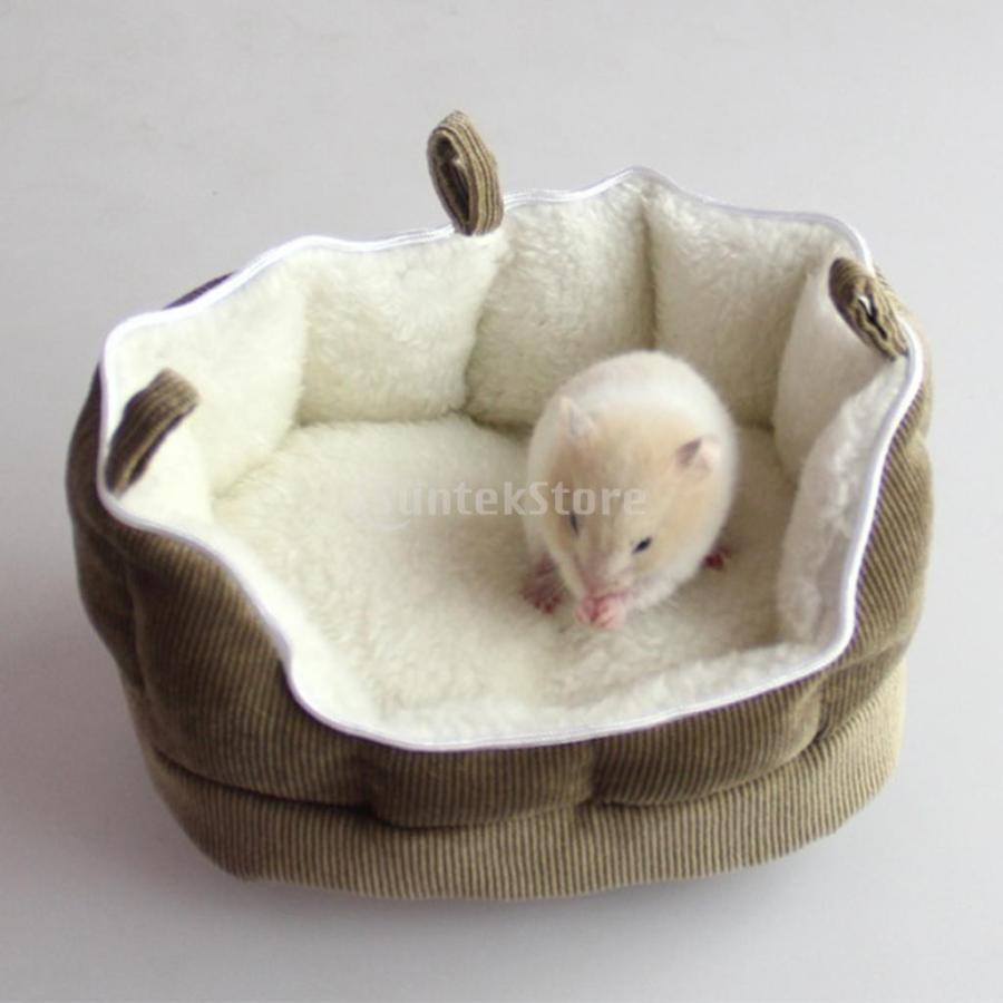 小型動物 ペット ハムスター ハンモック ソフト 吊り ベッド 取り外し可能 洗える 全2色選べる - コーヒー stk-shop 05