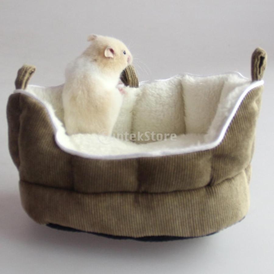 小型動物 ペット ハムスター ハンモック ソフト 吊り ベッド 取り外し可能 洗える 全2色選べる - コーヒー stk-shop 09