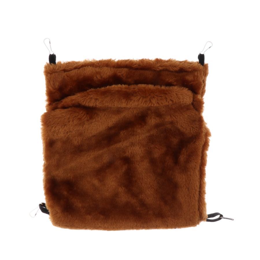 小型ペット ハムスター オウム ハンモック ダブルデッキ  ポケット ぬいぐるみ  ハンモック 快適 全3色2サイズ - コーヒー, L stk-shop