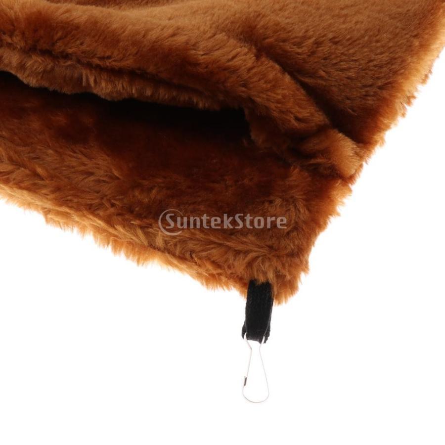 小型ペット ハムスター オウム ハンモック ダブルデッキ  ポケット ぬいぐるみ  ハンモック 快適 全3色2サイズ - コーヒー, L stk-shop 03