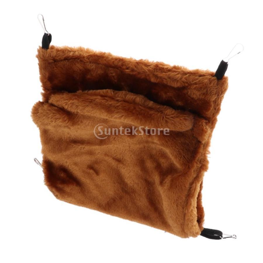 小型ペット ハムスター オウム ハンモック ダブルデッキ  ポケット ぬいぐるみ  ハンモック 快適 全3色2サイズ - コーヒー, L stk-shop 04