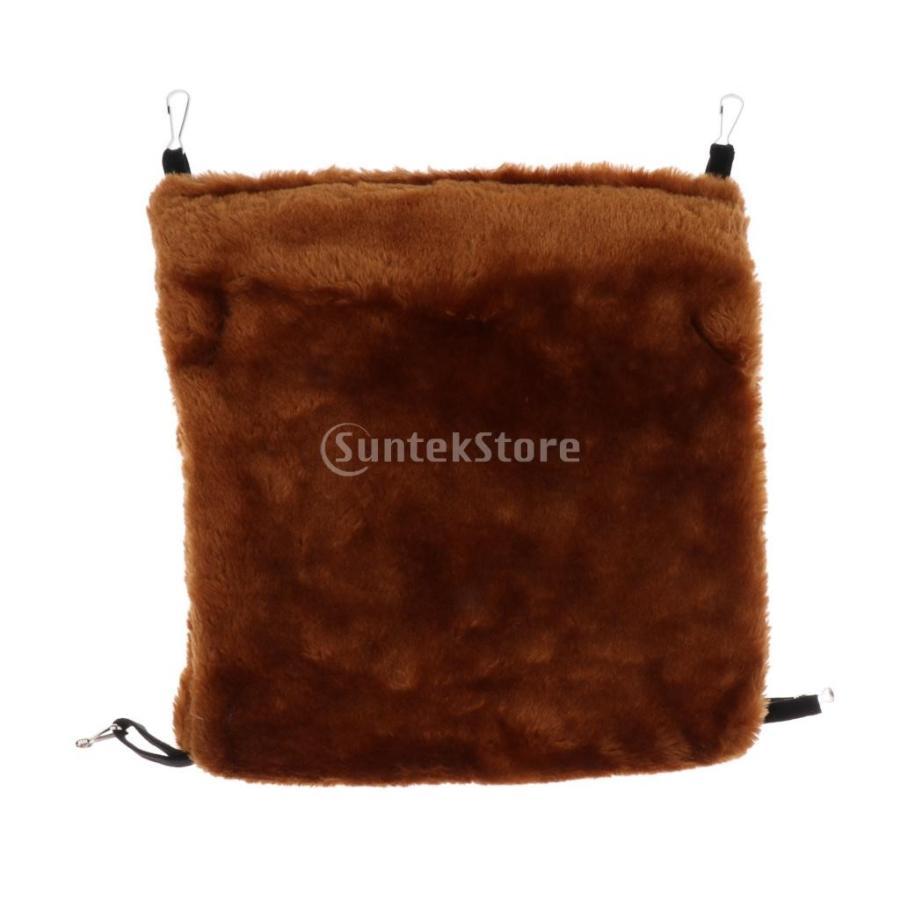 小型ペット ハムスター オウム ハンモック ダブルデッキ  ポケット ぬいぐるみ  ハンモック 快適 全3色2サイズ - コーヒー, L stk-shop 05