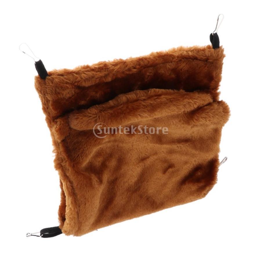 小型ペット ハムスター オウム ハンモック ダブルデッキ  ポケット ぬいぐるみ  ハンモック 快適 全3色2サイズ - コーヒー, L stk-shop 06