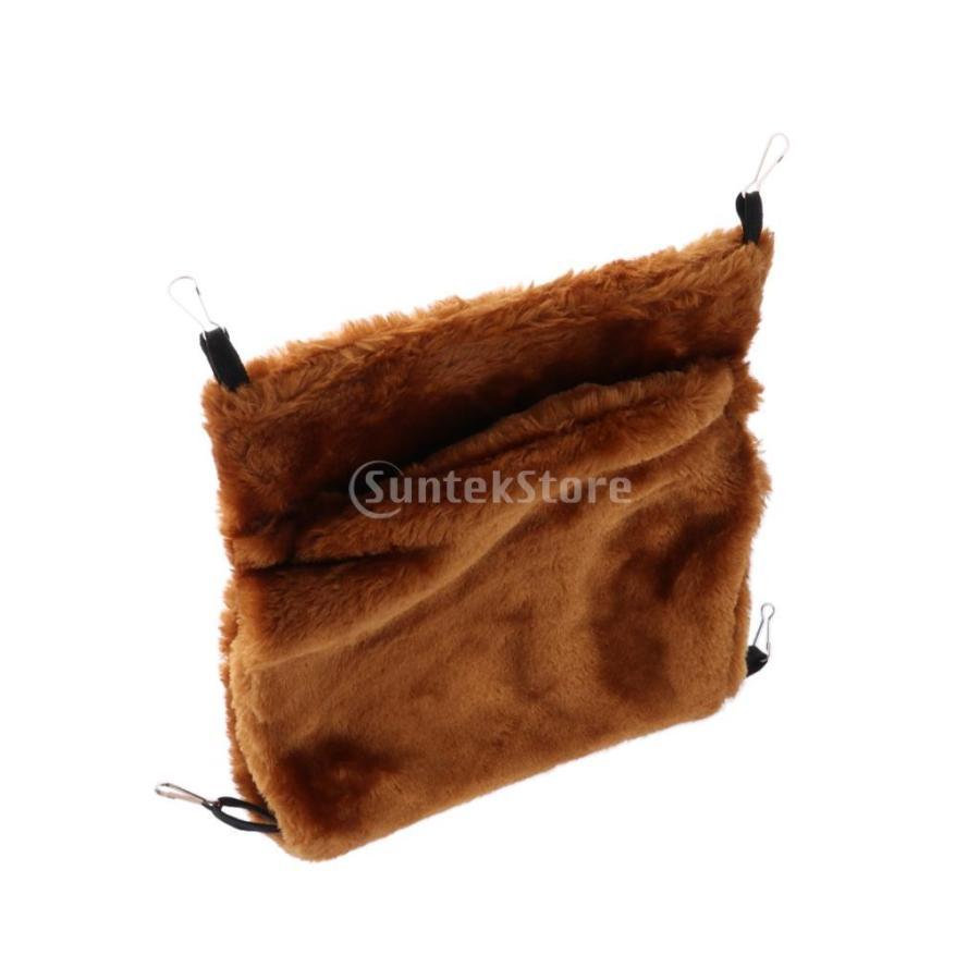 小型ペット ハムスター オウム ハンモック ダブルデッキ  ポケット ぬいぐるみ  ハンモック 快適 全3色2サイズ - コーヒー, L stk-shop 07